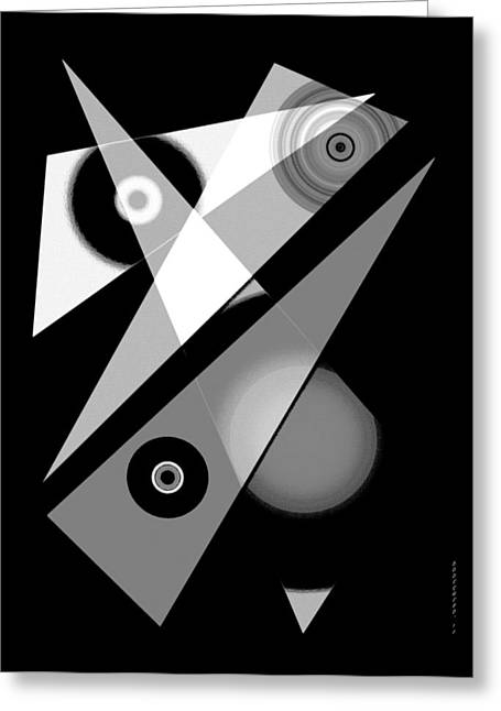 Transparency Geometric Greeting Cards - Black and White Shapes Art Greeting Card by Mario  Perez