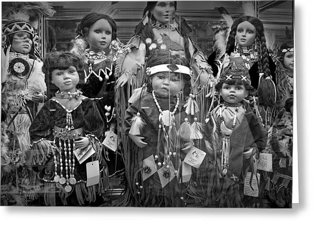 Selling Fine Art Greeting Cards - Black and White Shop Display of American Indian dolls Greeting Card by Randall Nyhof