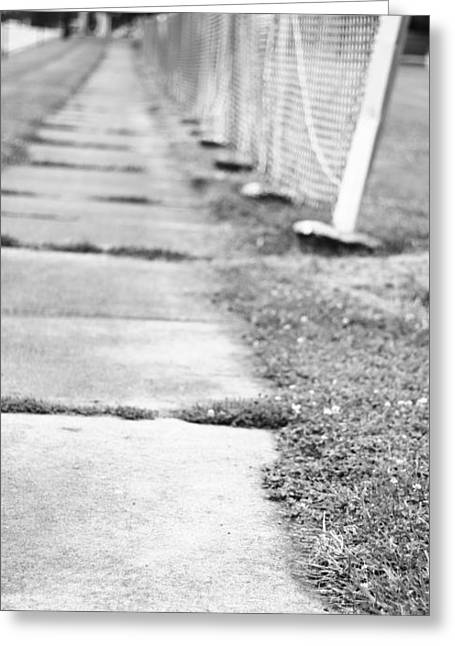 Weed Line Greeting Cards - Black And White Sidewalk Greeting Card by Dan Sproul