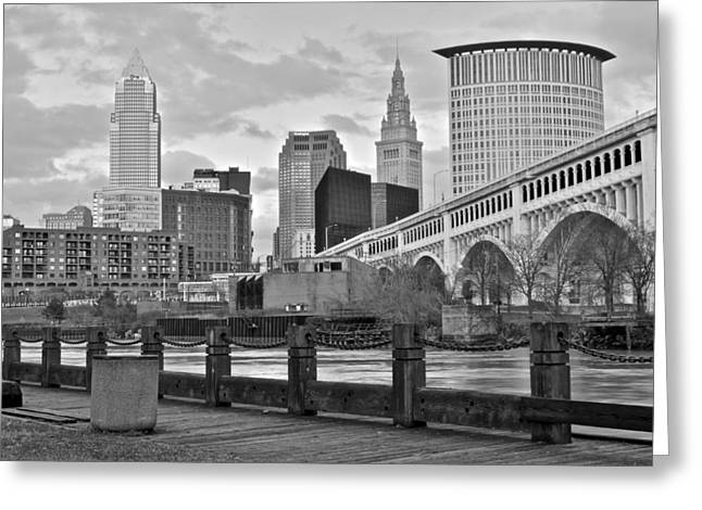 Town Square Greeting Cards - Black and White Skyline Greeting Card by Frozen in Time Fine Art Photography