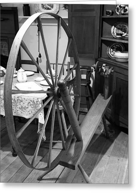 Fabrication Greeting Cards - Black And White Spinning Wheel Greeting Card by Dan Sproul