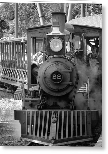 American Tradition Greeting Cards - Black And White Cedar Point Train Greeting Card by Dan Sproul