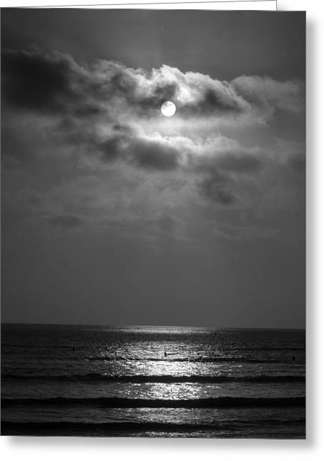 Beach At Night Greeting Cards - Black and White Sunset at San Onofre Greeting Card by Richard Cheski
