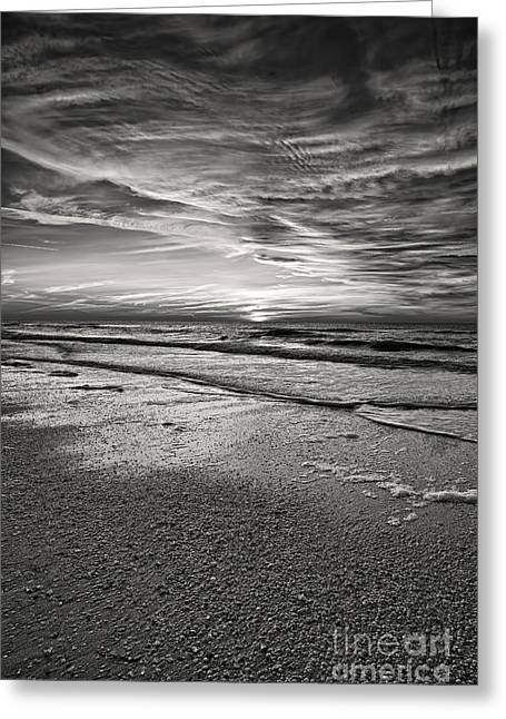 Beach Photos Pyrography Greeting Cards - Black And White Sunset Greeting Card by Eyzen M Kim