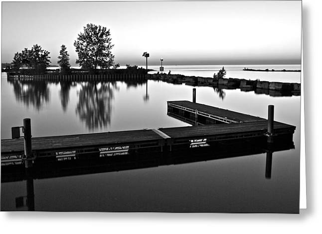 Black And White Sunset Greeting Card by Frozen in Time Fine Art Photography