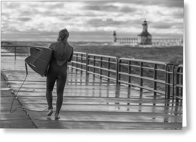 Pure Michigan Greeting Cards - Black and White Surfer at St Joseph Lighthouse  Greeting Card by John McGraw