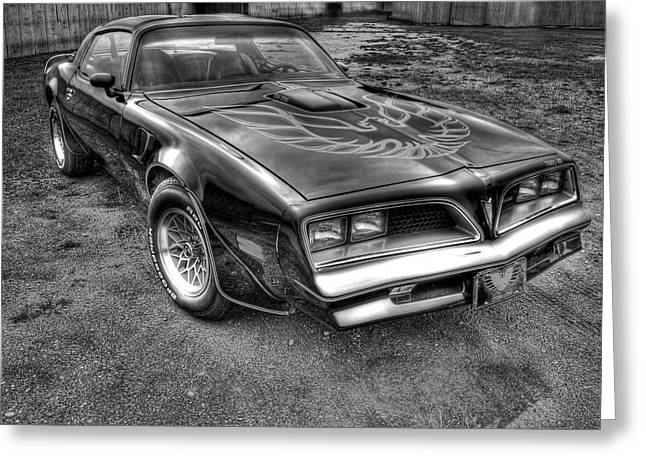 Black And White Hdr Greeting Cards - Black and White Trans Am Greeting Card by Thomas Young