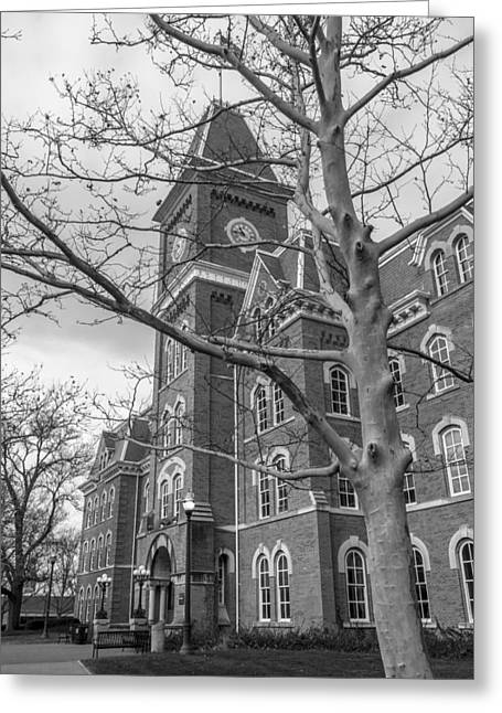 Ohio State University Greeting Cards - Black and White University Hall   Greeting Card by John McGraw