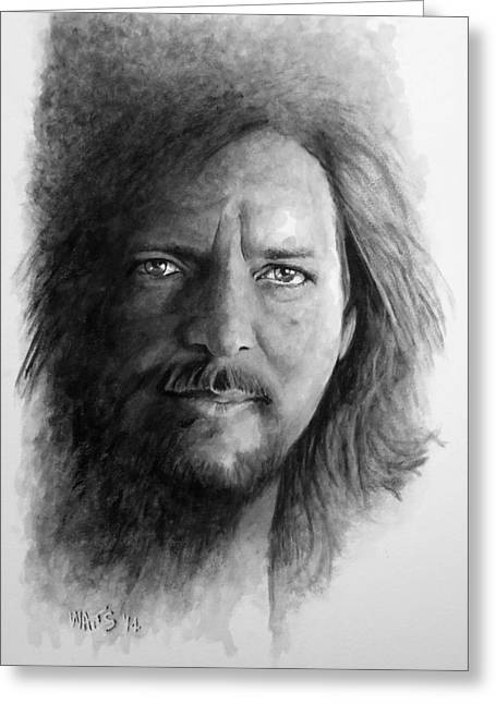 Pearl Jam Digital Art Greeting Cards - Black and White Vedder Greeting Card by William Walts
