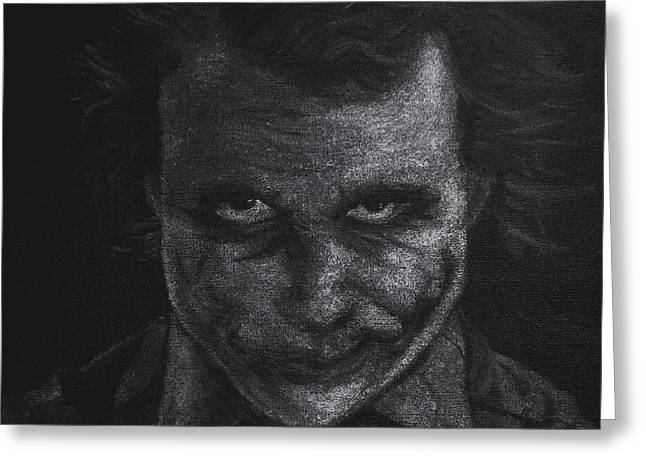 Batman Pastels Greeting Cards - Black and White version of Heath Ledger as The Joker  Greeting Card by Will Dudley
