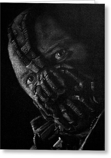 Batman Pastels Greeting Cards - Black and White version of Tom Hardy as Bane Greeting Card by Will Dudley