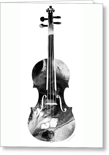 Black And White Violin Art By Sharon Cummings Greeting Card by Sharon Cummings