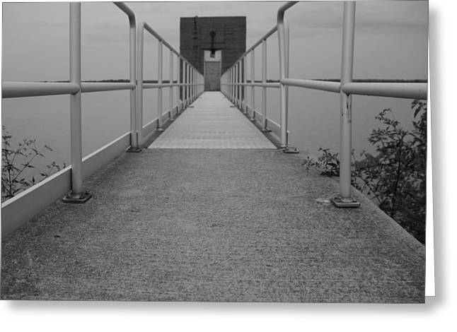 Concrete Bridge Greeting Cards - Black And White Walkway Greeting Card by Dan Sproul