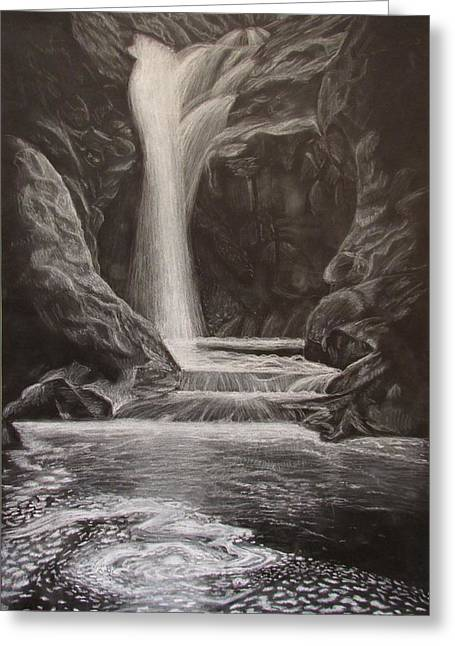 Water In Caves Greeting Cards - Black and White Waterfall Greeting Card by Svetlana Rudakovskaya