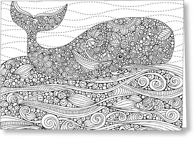 Black And White Whale Greeting Card by Valentina Harper