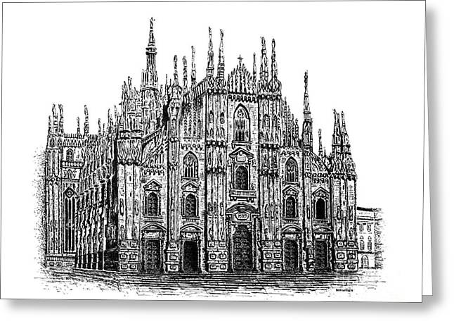 Pen And Paper Drawings Greeting Cards - Black and White with Pen and Ink drawing of Milan Cathedral  Greeting Card by Mario  Perez