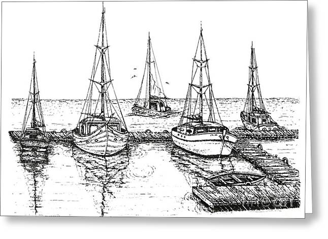 Ocean Images Drawings Greeting Cards - Black and White with pen and ink Drawing of The Berth Greeting Card by Mario  Perez