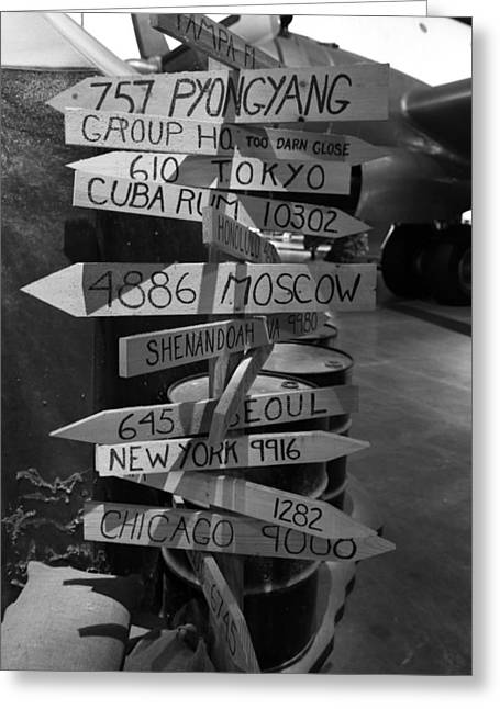 Honk Greeting Cards - Black And White World Directions Greeting Card by Dan Sproul