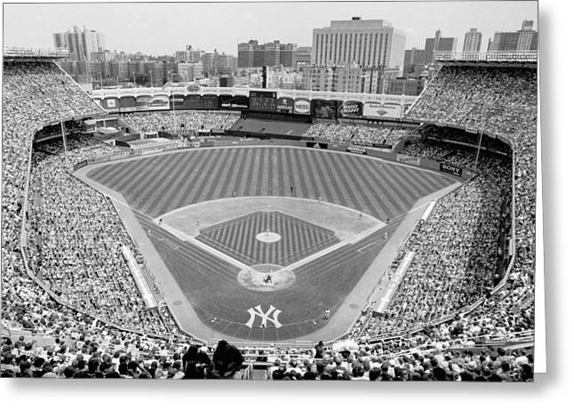 Black And White Yankee Stadium Greeting Card by Horsch Gallery