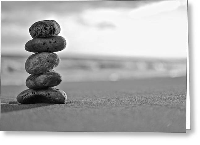 Zen Rock Stacking Greeting Cards - Black and White Zen Greeting Card by Michael Neinast