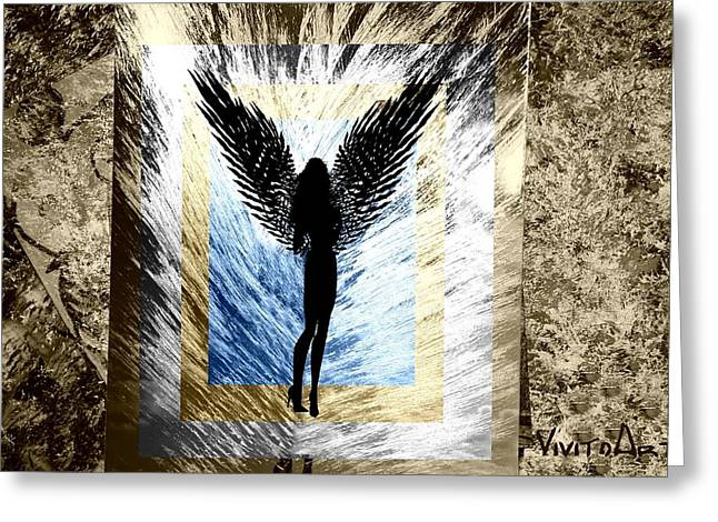 Himmel Mixed Media Greeting Cards - Black Angel Greeting Card by Angela Parszyk