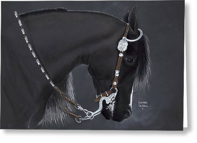 Western Western Art Pastels Greeting Cards - Black Arabian Greeting Card by Heather Gessell