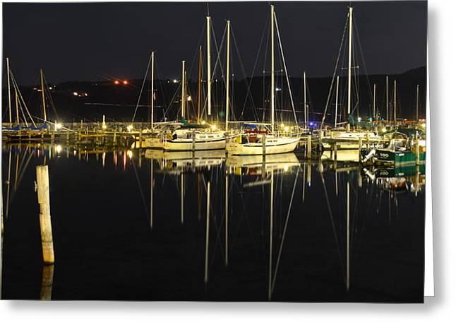 Two Sail Boats Greeting Cards - Black as Night Greeting Card by Frozen in Time Fine Art Photography