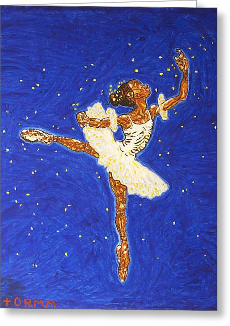 Floating Girl Greeting Cards - Black Ballerina Greeting Card by Stormm Bradshaw