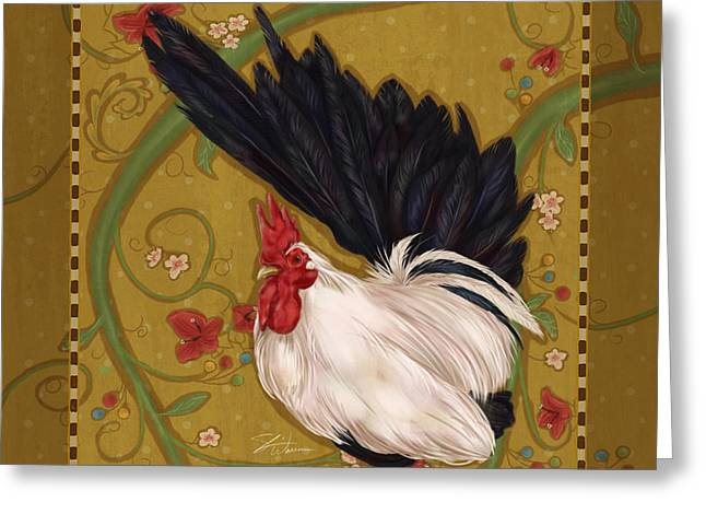 Farm Mixed Media Greeting Cards - Black Bantam Rooster Greeting Card by Shari Warren