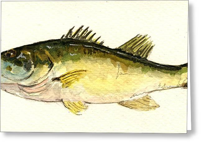Black Bass Fish Greeting Card by Juan  Bosco