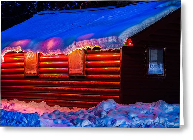 Overhanging Snow Greeting Cards - Black Bear Cabin Greeting Card by Optical Playground By MP Ray