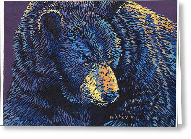 Linocut Paintings Greeting Cards - Black Bear - Linocut Print Greeting Card by Manny Mellor
