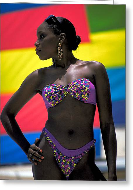 Gold Earrings Photographs Greeting Cards - Black Beauty in Nassau Greeting Card by Carl Purcell