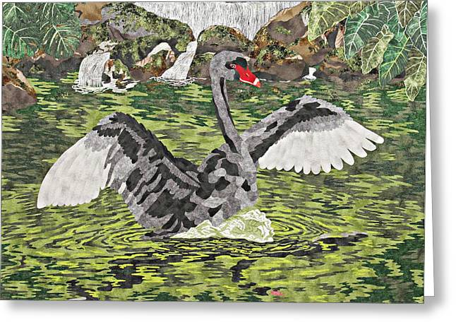Waterfall Tapestries - Textiles Greeting Cards - Black Beauty Greeting Card by Pauline Barrett
