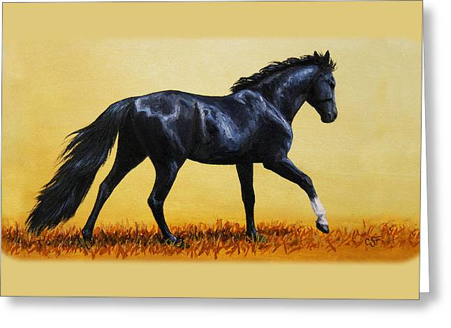 Horses Running Greeting Cards - Black Beauty Phone Case Greeting Card by Crista Forest