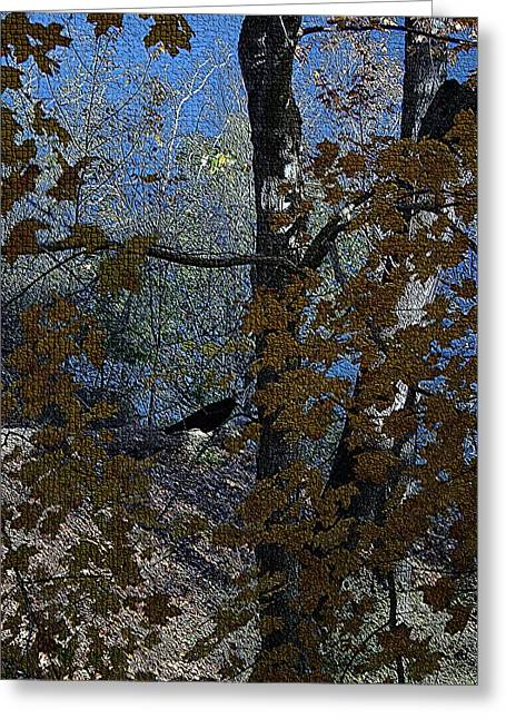 Seasonal Tapestries - Textiles Greeting Cards - Black Bird in Autumn Tree II Greeting Card by Thia Stover
