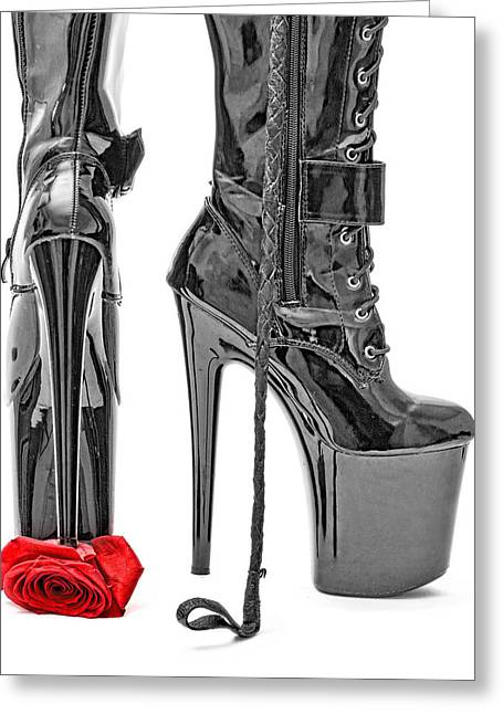 Sexy Tapestries - Textiles Greeting Cards - Black Boots and Rose Greeting Card by EtoileArt