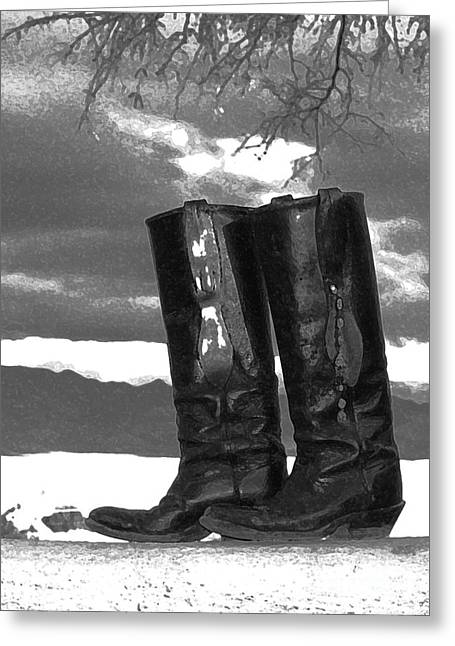 Boots Digital Art Greeting Cards - Black Boots Greeting Card by Betty  McDonald