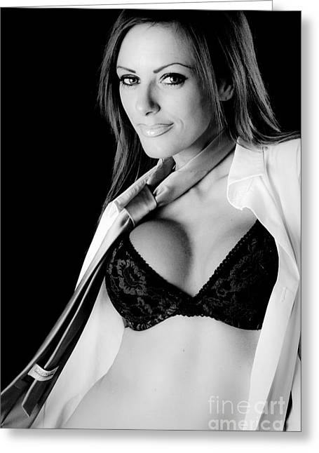 Black Tie Greeting Cards - Black Bra Greeting Card by Jt PhotoDesign