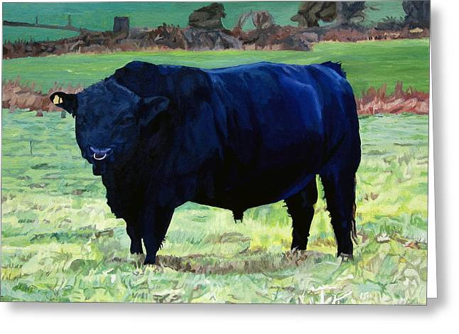 Photorealism Greeting Cards - Black Bull in Beausangs Field Greeting Card by Niall McCarthy
