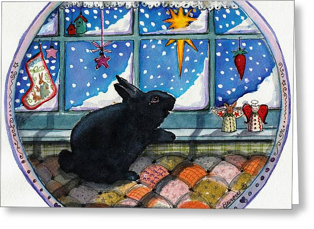 Angel With Star Greeting Cards - Black Bunny Greeting Card by Deborah Burow