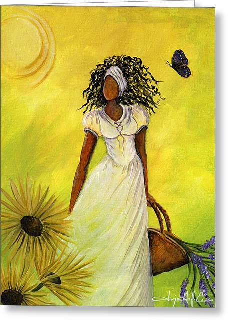 African Heritage Mixed Media Greeting Cards - Black Butterfly Greeting Card by Sonja Griffin Evans