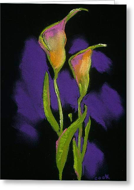 Calla Lily Pastels Greeting Cards - Black Callas Greeting Card by Danyl Cook