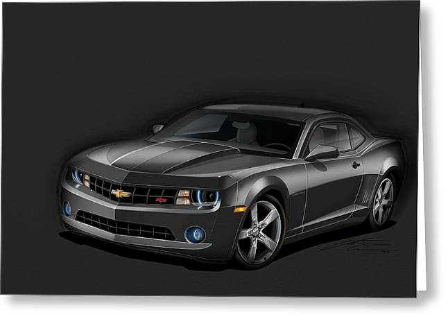 2011 Greeting Cards - Black Camaro Greeting Card by Etienne Carignan