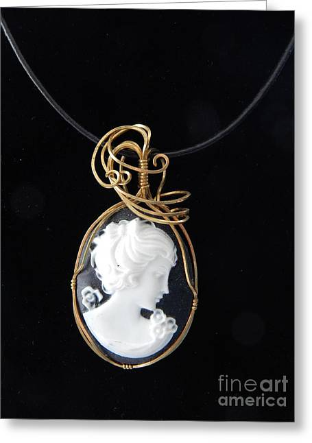 Wrap Jewelry Greeting Cards - Black Cameo Greeting Card by Patricia  Tierney