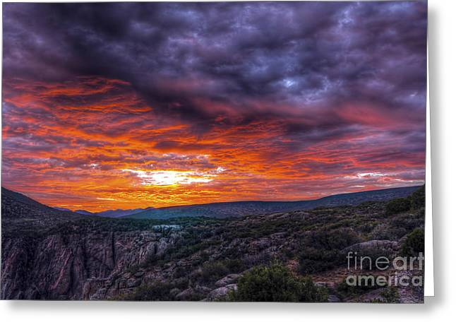 Scotts Scapes Greeting Cards - Black Canyon Sunrise Greeting Card by Scotts Scapes