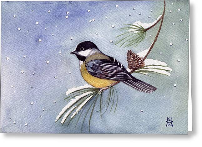 Black-capped Chickadee Greeting Card by Katherine Miller