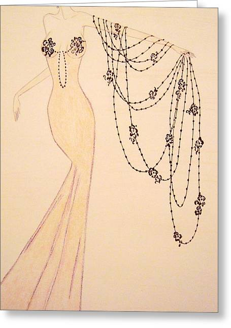 Evening Dress Drawings Greeting Cards - Black Cascade Greeting Card by Christine Corretti
