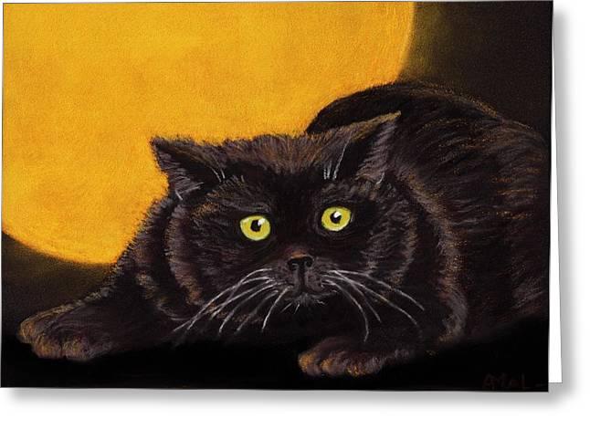 Glowing Pastels Greeting Cards - Black Cat Greeting Card by Anastasiya Malakhova
