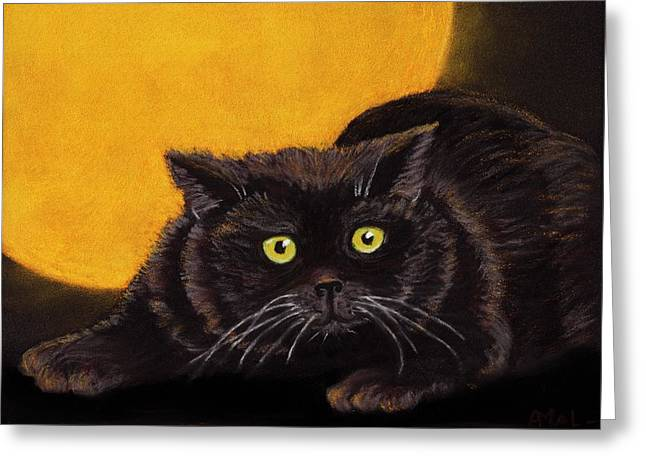 Creature Pastels Greeting Cards - Black Cat Greeting Card by Anastasiya Malakhova